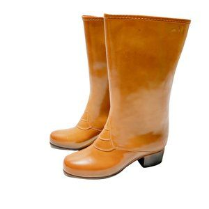 Vintage Weather Guard Glossy Heeled Shearling Lined Rain Boots